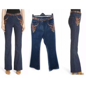 Etro 29 Blue Embroidered Jean Floral Italy Bootcut